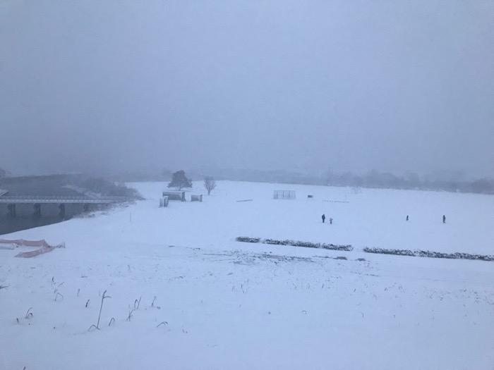雪の日は広く白く