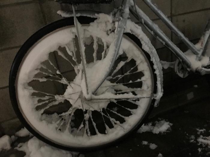雪まみれの自転車