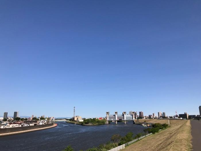荒川の強風の青空