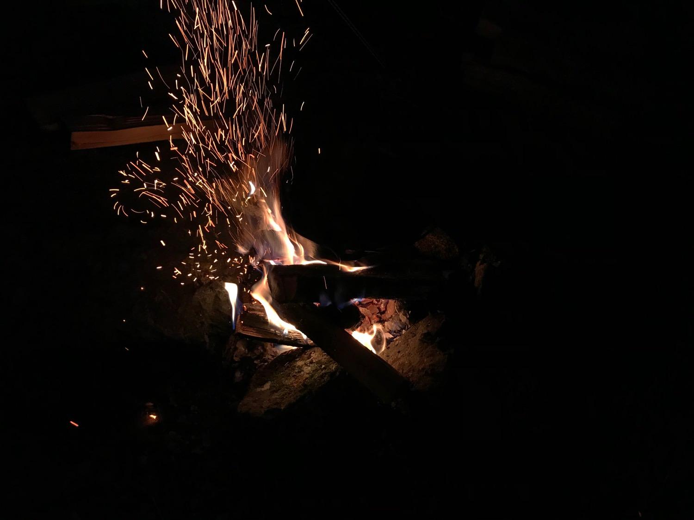 夜は焚火を楽しむ